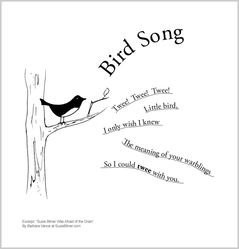 """Image of """"Bird Song"""" poem from children's poetry book """"Suzie Bitner Was Afraid of the Drain"""" by Barbara Vance"""