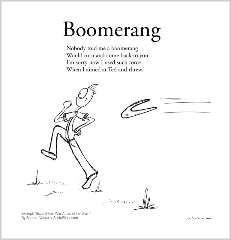 """Image of """"Boomerang"""" poem from children's poetry book """"Suzie Bitner Was Afraid of the Drain"""" by Barbara Vance"""