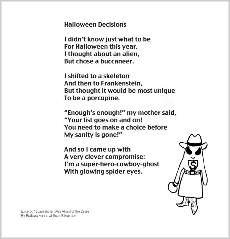 "Image and text of ""Halloween Decisions"" poem from children's poetry book ""Suzie Bitner Was Afraid of the Drain"" by Barbara Vance"