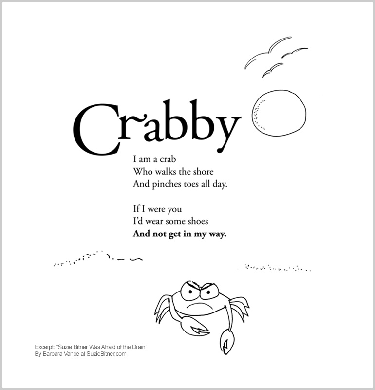 """Image of """"Crabby"""" poem from children's poetry book """"Suzie Bitner Was Afraid of the Drain"""" by Barbara Vance"""