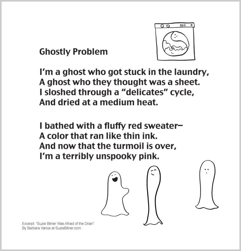 "Image and text of ""Ghostly Problem"" poem from children's poetry book ""Suzie Bitner Was Afraid of the Drain"" by Barbara Vance"