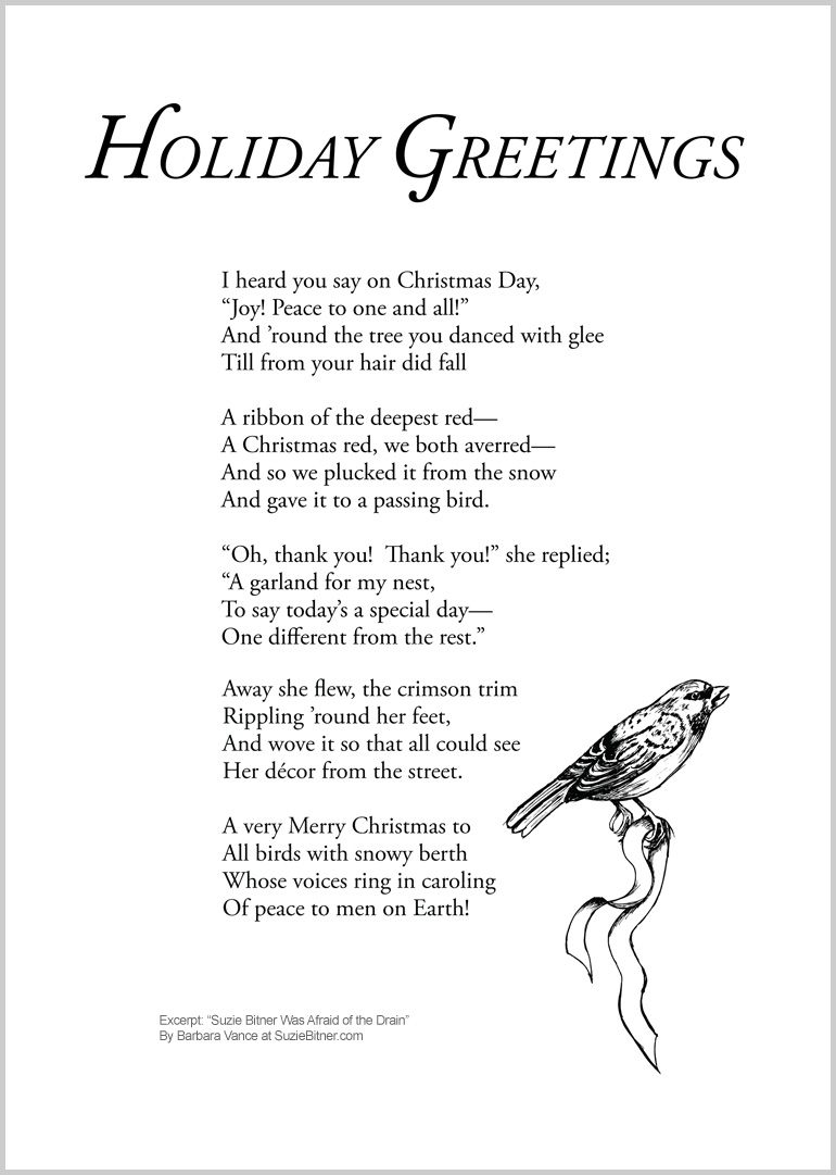 "Illustration and text of 'Holiday Greeting 'Poem by Barbara Vance from the collection ""Suzie Bitner Was Afraid of the Drain"""