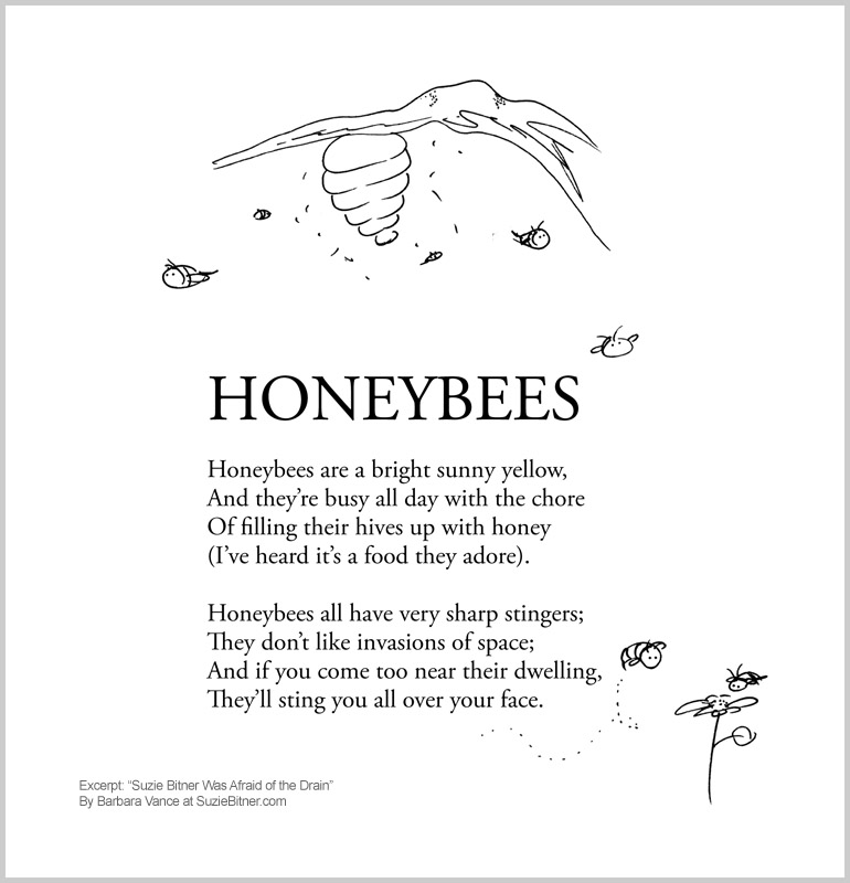 "Image and text of ""Honeybees"" poem from children's poetry book ""Suzie Bitner Was Afraid of the Drain"" by Barbara Vance"