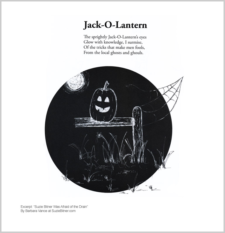 "Image and text of ""Jack-o-Lantern"" poem from children's poetry book ""Suzie Bitner Was Afraid of the Drain"" by Barbara Vance"