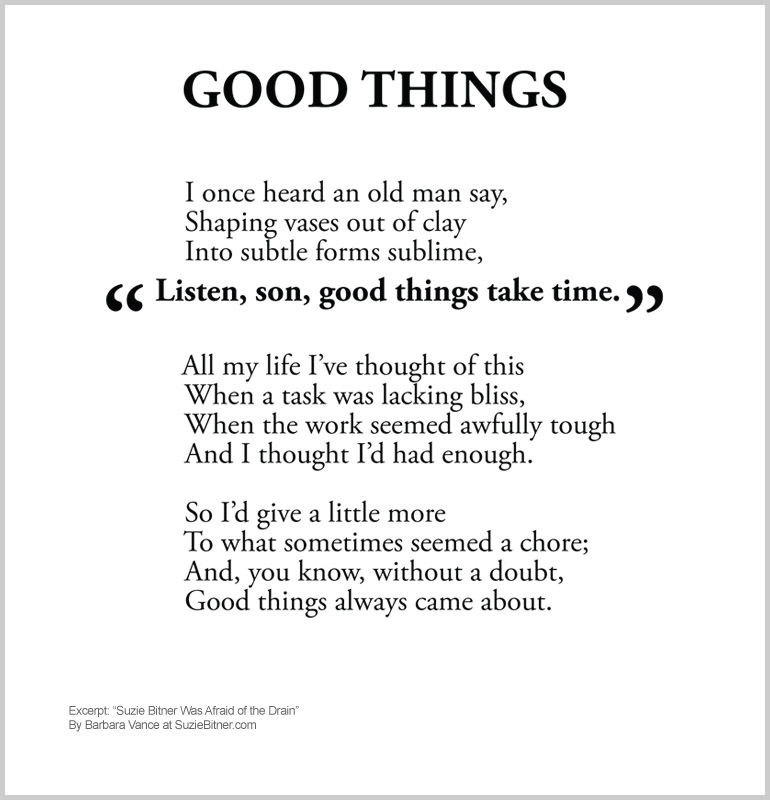 "Image and text of ""Good Things"" poem from children's poetry book ""Suzie Bitner Was Afraid of the Drain"" by Barbara Vance"