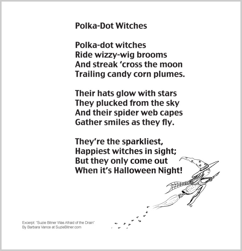 """Image and text of """"Polka-Dot Witches"""" poem from children's poetry book """"Suzie Bitner Was Afraid of the Drain"""" by Barbara Vance"""