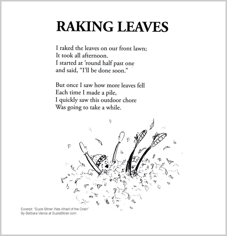 "Image and text of ""Raking Leaves"" poem from children's poetry book ""Suzie Bitner Was Afraid of the Drain"" by Barbara Vance"