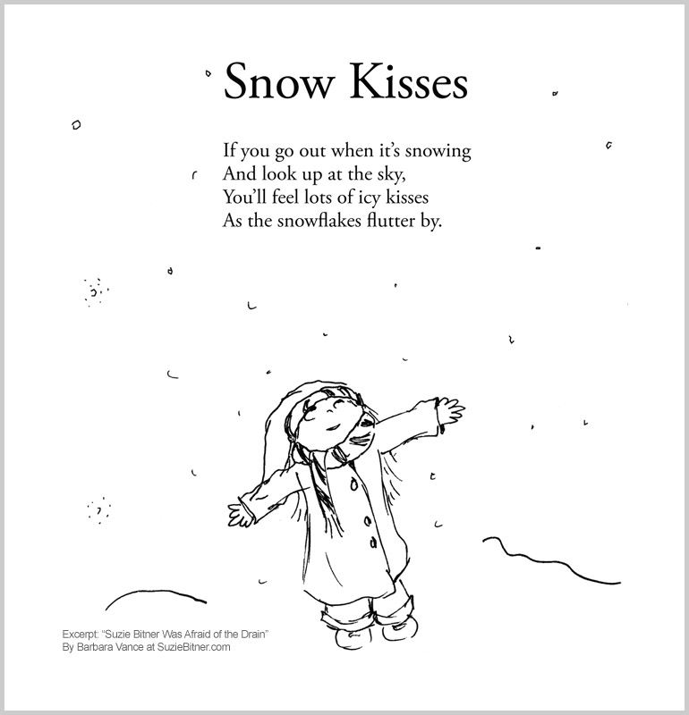 "Image and text of ""Snow Kisses"" poem from children's poetry book ""Suzie Bitner Was Afraid of the Drain"" by Barbara Vance"