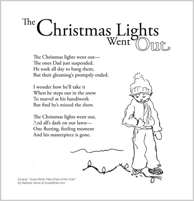 """Image of """"The Christmas Lights Went Out"""" poem from children's poetry book """"Suzie Bitner Was Afraid of the Drain"""" by Barbara Vance"""