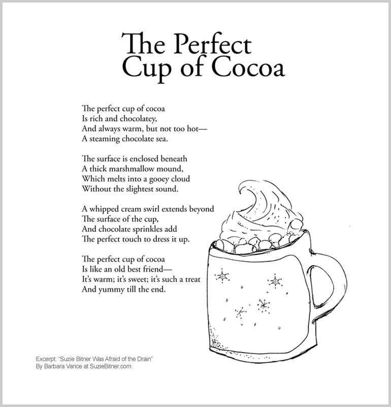 """Image of """"The Perfect Cup of Cocoa"""" poem from children's poetry book """"Suzie Bitner Was Afraid of the Drain"""" by Barbara Vance"""
