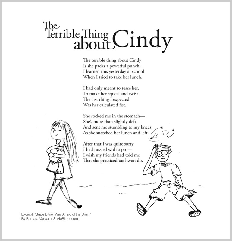 "Image of ""The Terrible Thing About Cindy"" poem from children's poetry book ""Suzie Bitner Was Afraid of the Drain"" by Barbara Vance"