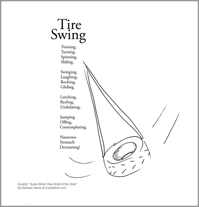 "Image and text of ""Tire Swing"" poem from children's poetry book ""Suzie Bitner Was Afraid of the Drain"" by Barbara Vance"