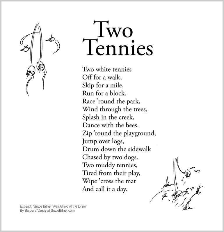 "Image and text of ""Two Tennies"" poem from children's poetry book ""Suzie Bitner Was Afraid of the Drain"" by Barbara Vance"